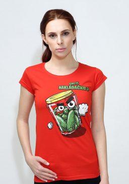 Dámské červené tričko Nakládačka - Bastard