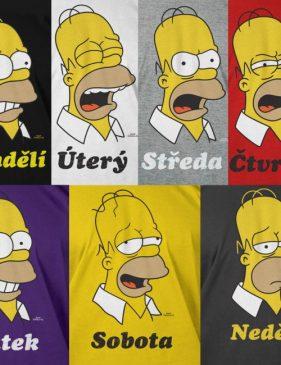 Homer Simpson trička - dny v týdnu
