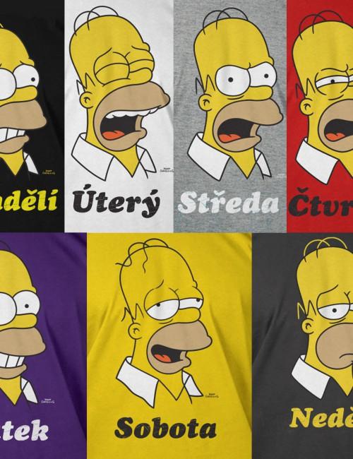 Sada triček Homer Simpson dny v týdnu