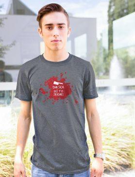 Šedé pánské tričko Dneska mi to sekne -Trikátor