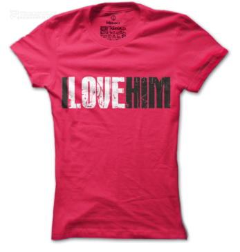 Dámské růžové tričko I love him