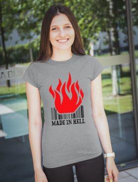 Dámské šedé tričko Made in hell- Trikátor