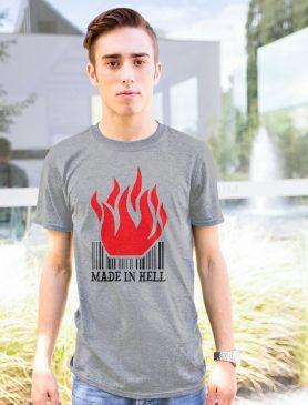 šedé pánské tričko Made in hell - Trikátor